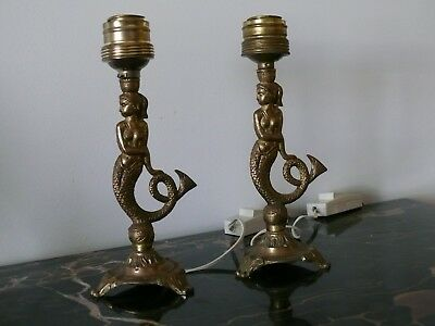 Vintage Pair French Brass Bronze Mermaid Sculpture ornate table lamps
