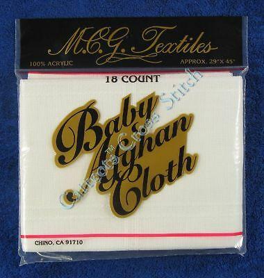 """Baby Afghan Cloth Fabric For Cross Stitch White 18 Count 29"""" x 45"""""""
