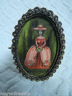 Vtg Stunning Victorian Lady  Mini Oil Painting W / Cast Brass Ornate Frame