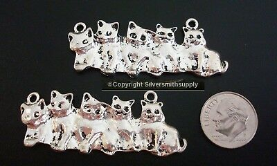 2 Large Kitten family silver plated charms, pendants, centerpieces CFP099