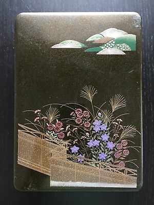 Fine Antique Japanese Lacquer Ware Makie Gold Garden Flowers Jewelry Ink Box Art