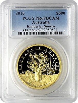 2016 $500 Australia Kimberley Sunrise High Relief 2oz. Gold Coin PCGS PR69DCAM