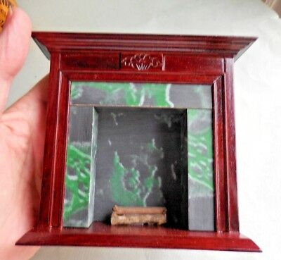 Dollhouse Miniature ~ Concord Fireplace Green 'marble' Surround