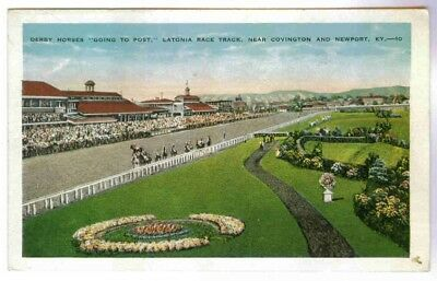 Latonia Racetrack,horses Going To Post,covington Ky, Postcard