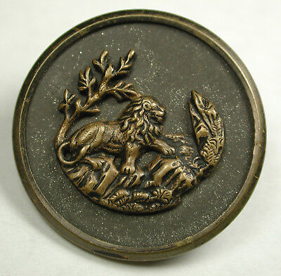 Antique Brass Button Lion Standing Climbing Rocky Slope Scene - 1 & 3/16""