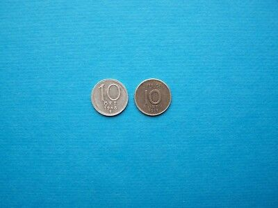 Sweden Coins 1948-1953 Years Nice Set Of Two 10 Ore Silver Coins. Circulated