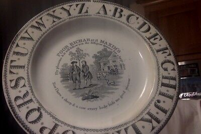 antique Staffordshire transferware Franklin Maxims Poor Richard s plate 1800's