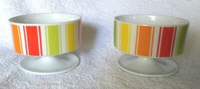 Set of 2 ISC Mid Century Modern Candy Stripes Sherbet Dessert Footed Bowls #46