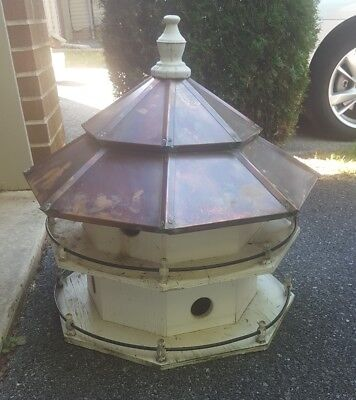 Antique Vintage Large Copper Roof Birdhouse Awesome