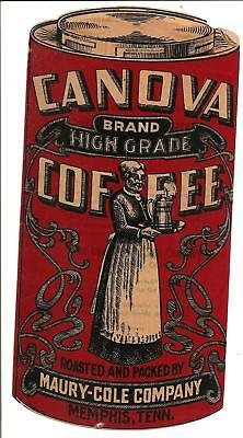 Vintage Window / Door Figural Decal Sign Canova Coffee Maury-Cole Co Memphis, TN