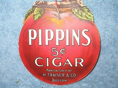 Pippins 5¢ Cigar Die Cut Fan Pull Tobacco Advertising Sign ©1895 Apple Shaped