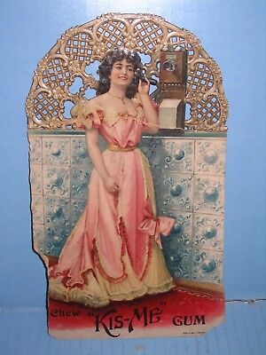 Kis Me Chewing Gum Sign Die Cut Pretty Girl on Candlestick Telephone