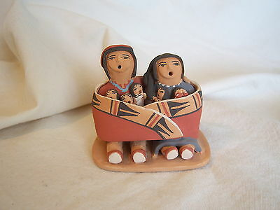 ANGIE LORETTO JEMEZ NM POTTERY Indian Family Wrapped in a Blanket Pueblo
