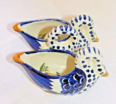 Henriot Quimper Swan Double Salt Cellars Yellow Blue White Figure Floral Inside