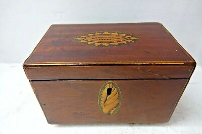 Very Old Wooden Tea Caddy - Inlaid Design - L@@k - Restoration Project