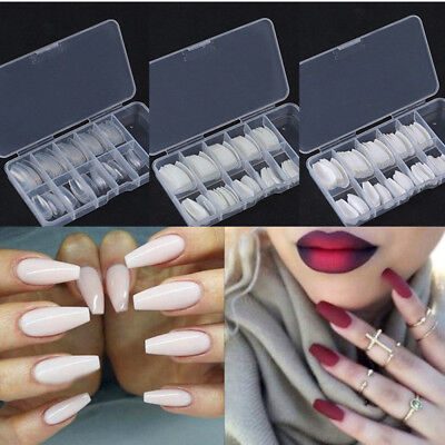 100/600Pcs False Nail Tips Ballerina Full Half Cover Coffin Shape Nail Art Tools