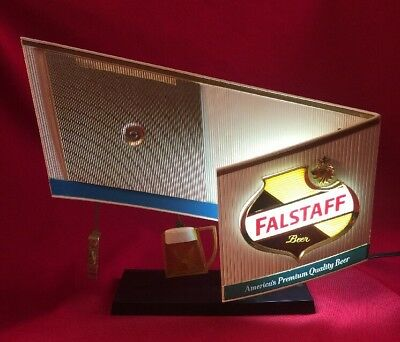 Vintage FALSTAFF BEER Clock Toasting Mugs Motion Lighted Sign FOR PARTS REPAIR