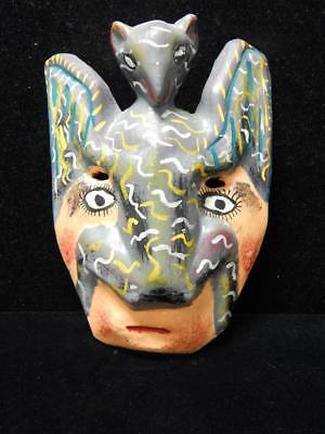 Vintage Antique Mexican Mexico Wood Dance 2 Figure Mask  - Graphic + Very Old Nr