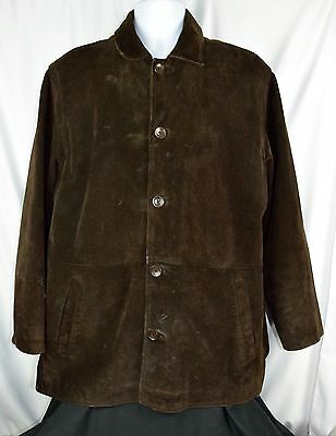 J.Crew Mens Suede Leather Brown Quilt Lined  Car Coat Jacket Sz M Dark N76a