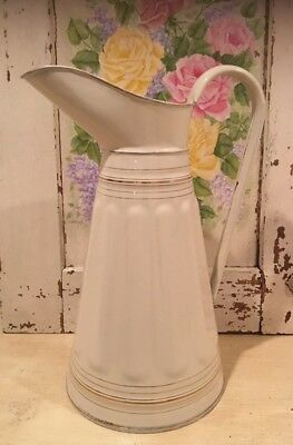 Antique Vintage French Enamel Off-White Tall Vertical Ribbed Water Pitcher