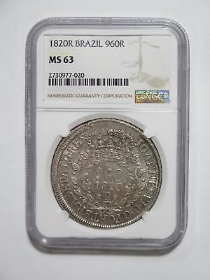 Brazil 1820R 960 Reis Ngc Ms63 Over 8 Reales Ex:kurt Prober Coin Collection Lot
