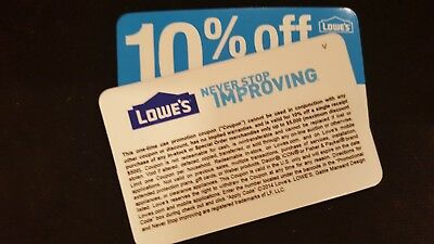 Lowes 10% Off Coupons Home Improvement Depot Voucher. Exp 6/15/18. Qty 10. Save