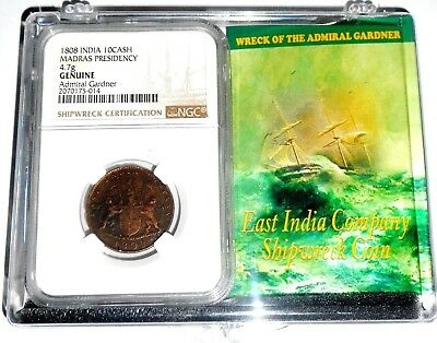 1808 Admiral Gardner Shipwreck NGC Certified 10 Cash Coin & Story, in Clear Box