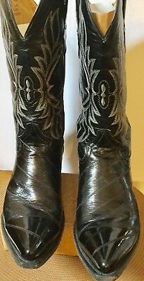 Botas CUADRA Black Anguila EEL Skin Mens Cowboy VTG Boots-11 Beautiful Orig Box