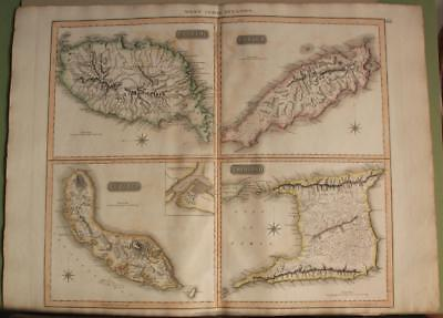 Trinidad & Tobago Grenada Curaçao 1816 Thomson Antique Copper Engraved Map