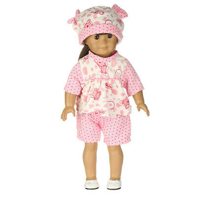 Cute Pink Bear Pajamas PJS Clothes Outfit Fit for 18inch American Girl Doll