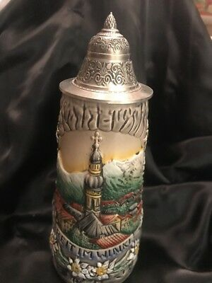 """Vtg 7.5""""German Beer Stein With Zinn Lid marked 97% Hand Made & Painted/Germany"""