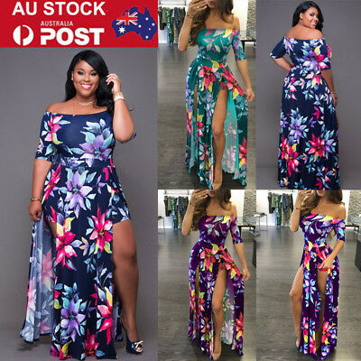 Plus Size Women Floral Long Maxi Dress Beach Holiday Casual Summer Sundress AU