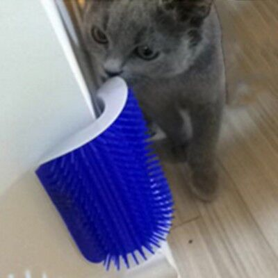 USA Cat Self Grooming Brush Pet Kitten Wall Corner Groomer Massager Comb+Catnip