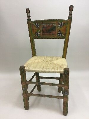 ITALIAN 19TH C. ANTIQUE FOLK ART HAND-CARVED/DECORATED WOODEN CHAIR Dragon