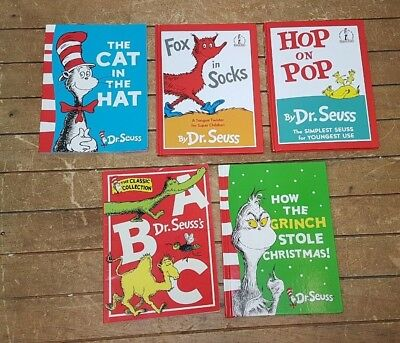 Collection 5 Dr Seuss Picture Books Cat in Hat Fox In Sox Grinch