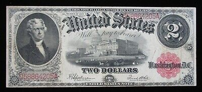 1917 $2 Red Seal Large Size Legal Tender United States Note * US Paper Money *