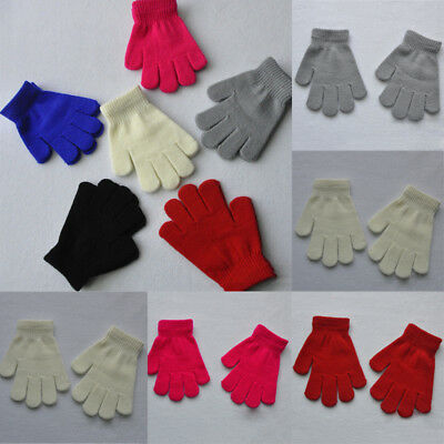 Children Kids Unisex Woolen Full Finger Gloves Knitted Winter Warm Plain Mittens