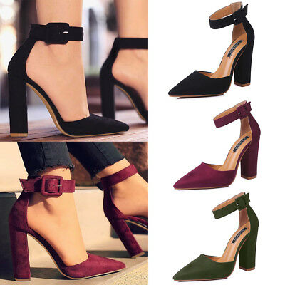 Women High Heel Ankle Strap Stilettos Sandals Pointed Toe Party Work Court Shoes