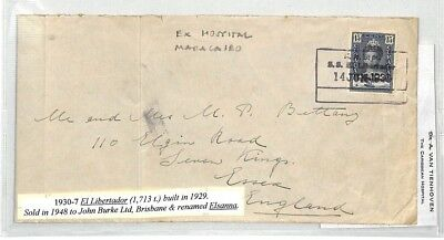 BS10 1930 DUTCH INDIES MARITIME Curacao SHIP *El Libertador* Ex Hospital Cover