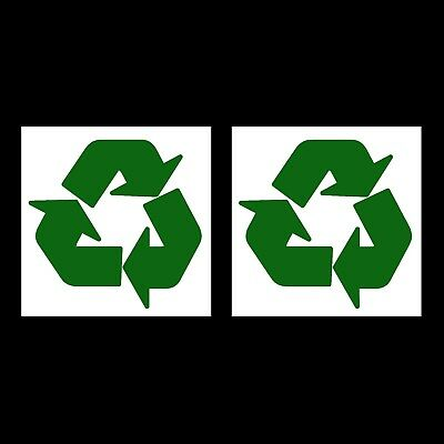 2 x Recycle Recycling Stickers Logo 100x100mm Symbol Vinyl Bin Enviroment