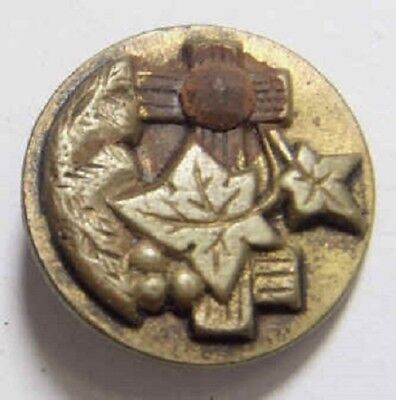 1800s antique metal leaf picture button fence cross with cut steel accent 44193
