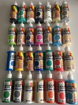 Window Color 80ml 28 Farben Fenstermalfarbe inkl.4 Konturenfarben Starter Set