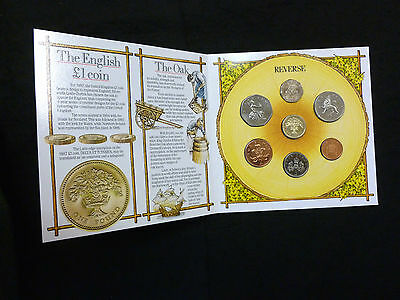 1987 Uncirculated UK Year set BU 7-coin Royal Mint pack £1 to 1p incl large 50p