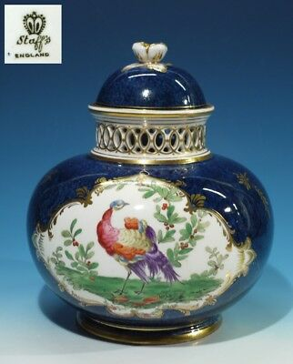 Fine Antique English Handpainted Bone China Pot Purri Jar & Cover -Staffs.