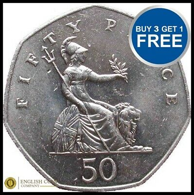1969 TO 1997 ELIZABETH II CUPRO NICKEL LARGE DECIMAL 50p - CHOICE OF YEAR / DATE