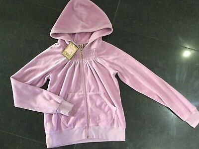 "NWT Juicy Couture New & Genuine Girls Age 8 Lilac Velour Hoody With ""J"" Pull"