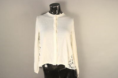 Authentic $2590 Valentino Creme Small Lace Cardigan 100% Virgin Wool