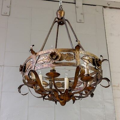 Spanish Gilt Iron Chandelier With Leaf And Floral Decorations