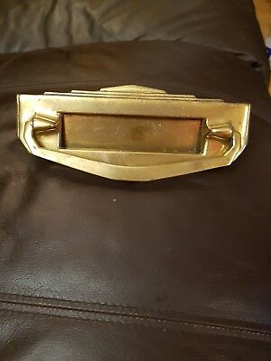 vintage art deco brass ? letter box with knocker 8 inches long