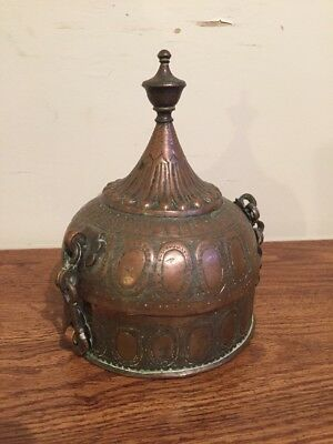 Antique Middle Eastern Ottoman Persian Tinned Copper Spice Caddy Box